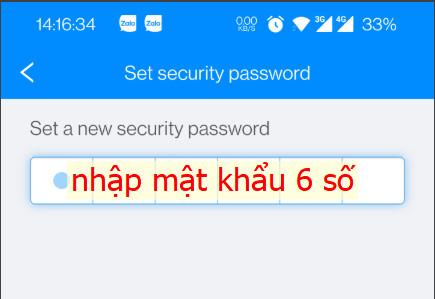Mật khẩu mở khóa gồm 6 số